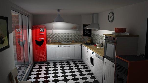 Conception de l'arrangement des blocs de cuisine qui est beau et pratique